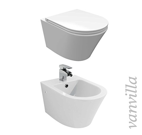 vanvilla Design Hänge WC Spülrandlos rimless + Hänge Bidet SET Luanda, inklusive Soft-Close