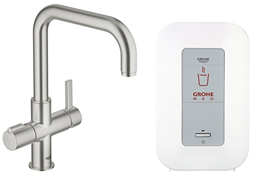 GROHE Red Duo Armatur und Single-Boiler (4 Liter), U-Auslauf, SuperSteel 30145DC0